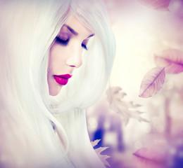 Fantasy autumn girl with long white hair