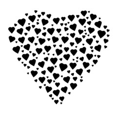 vector heart with black hearts