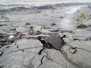 Vulkankrater aufgebrochener Boden