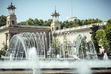 fountain and ancient architecture at national museum barcelona,