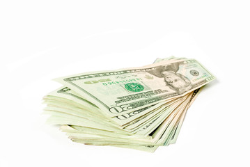 20 dollars bill. Wide angle view. Isolated over white. Business