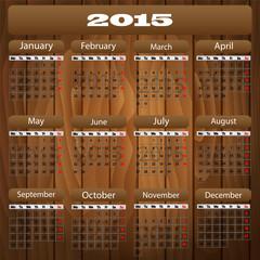 Vector 2015 calendar wood