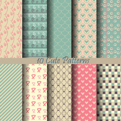 10 sweet pink cute pattern set