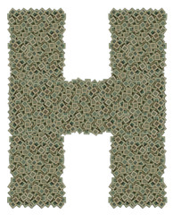 letter H made of huge amount of old and dirty microprocessors
