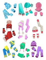 Hats, scarves and mittens for little girls