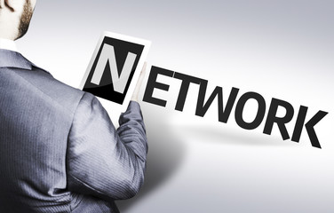 Business man with the text Network