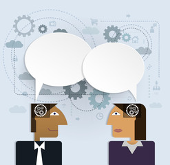 Business people with speech bubble.social network communication