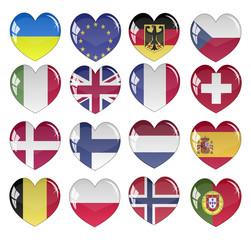 Vector - Flag Heart Glossy Button