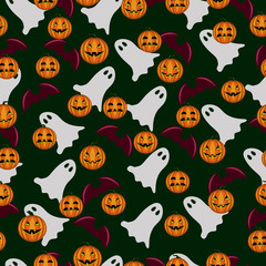 seamless pattern ghost and pumpkin Halloween