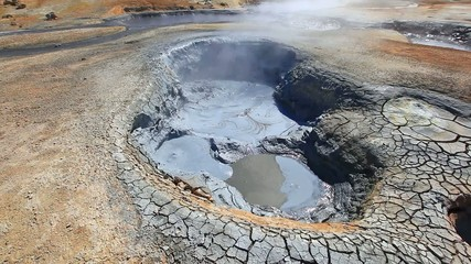 Boiling mud fumarole and dry earth on Iceland