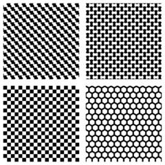 Set of black geometric patterns