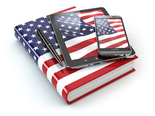 American english learning. Mobile devices, smartphone, tablet pc
