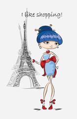 Девушка моды в Париже, вектор фон