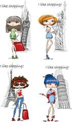 Модные девушки в другой стране, вектор фон