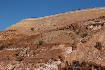 red cave mine outdoor with clear blue sky
