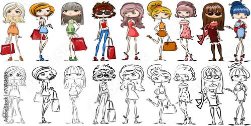 canvas print picture Мультфильм модные девушки