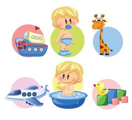 Векторная иллюстрация мальчика и детских аксессуаров