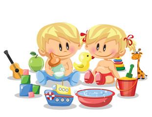 Векторная иллюстрация мальчика, девочку и детских аксессуаров