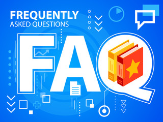 Vector bright illustration faq and books on blue background for
