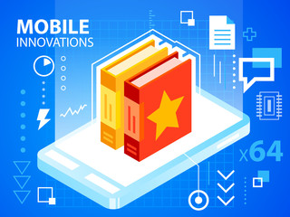 Vector bright illustration mobile phone and books on blue backgr