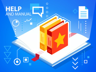 Vector bright illustration manual and books on blue background f