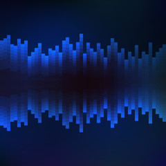 Abstract background, blue music equalizer