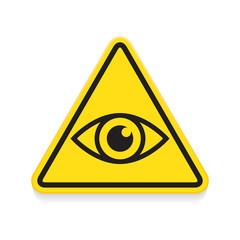 Symbol of eye, warning sign, yellow triangle