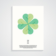 Retro poster template with four leaf clover