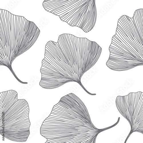 Ginkgo biloba leaves, line design, seamless pattern © kovalto1
