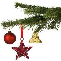 weihnachtlich dekorierter Tannenzweig