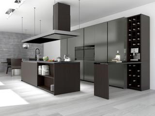 Moderne Küche mit Weinschrank