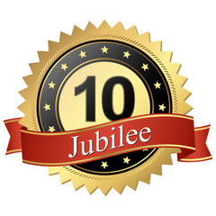 Jubilee button with banners - 10 years