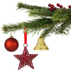 weihnachtlich geschmückter Tannenzweig