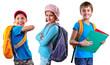 schoolchildren of grade school with backpack and books
