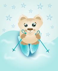 Skiing bear