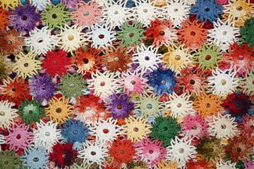 Colorful crochet doily