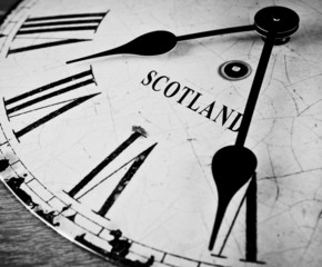 Scotland black and white clock face