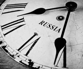 Russian black and white clock face