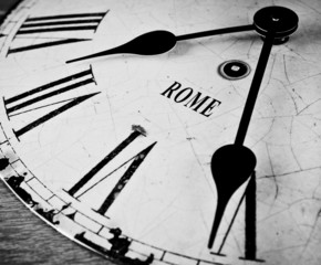 Rome black and white clock face