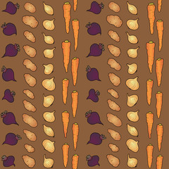 seamless pattern with beets and potatoes