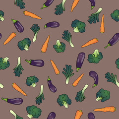 seamless pattern with eggplant broccoli carrots leek disarranged