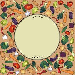 frame with vegetables