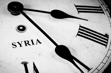 Syria black and white clock face