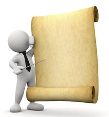 omino bianco che indica pergamena