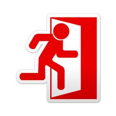 Pegatina simbolo rojo salida de emergencia