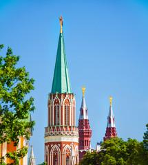 Close up view of Nikolskaya tower top part