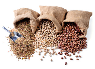 Pinto beans, chickpeas and lentils