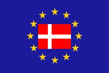 Vector flag of EU with Denmark
