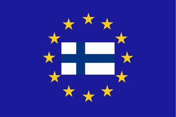 Vector flag of EU with Finland