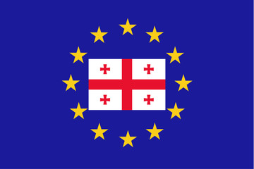 Vector flag of EU with Georgia